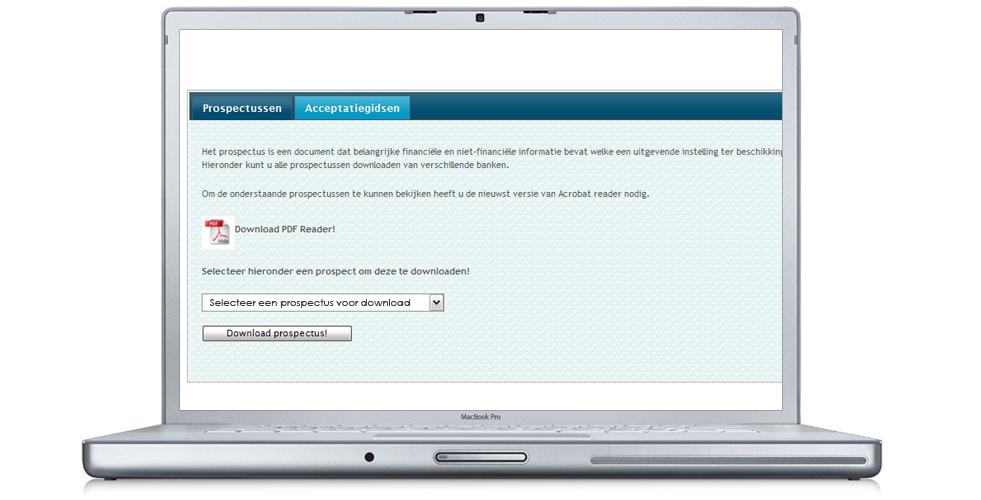 U kunt hier de prospectussen en acceptatiegidsen downloaden van diverse financieringsmaatschappijen.