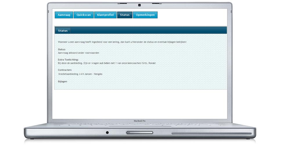 MijnLeencoach.nl zorgt voor de uiteindelijke verwerking van de aanvraag. Daarnaast krijgt u mail als de status van de aanvraag veranderd. Tevens kunt u hier het besproken contract downloaden.